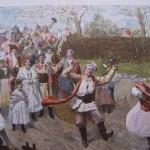 Polskie wesele wiejskie, barwny drzeworyt 1898 r.