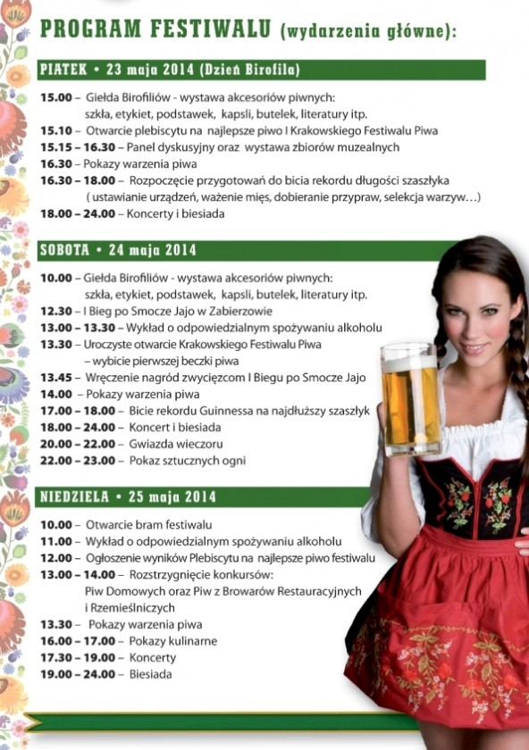 I Krakowski Festiwal Piwa_program