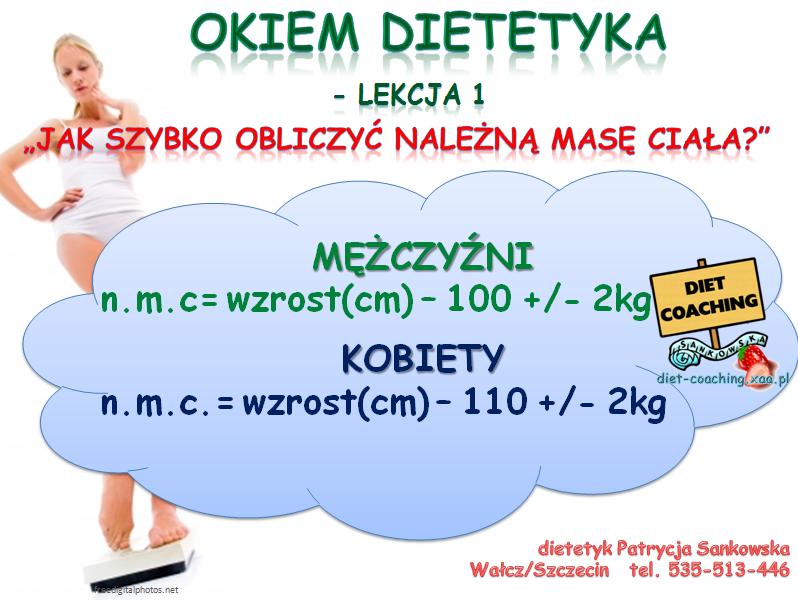 Lekcja należna masa ciała, dietetyk Patrycja Sankowska (Wałcz, Szczecin)