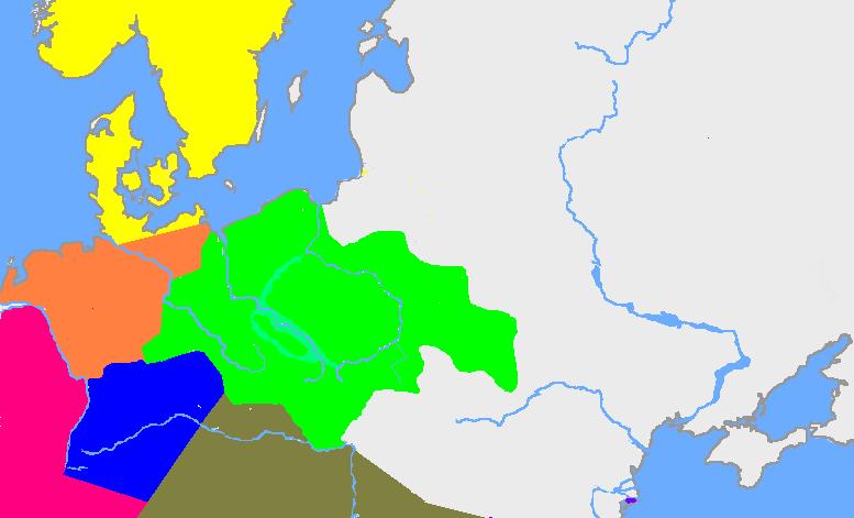 Maksymalny zasięg kultury łużyckiej, zaznaczony kolorem zielonym