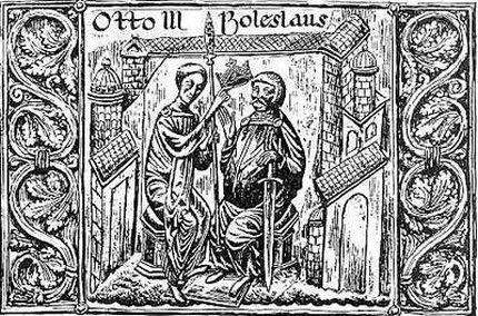 Otton III i Bolesław Chrobry podczas Zjazdu Gnieźnińskiego.