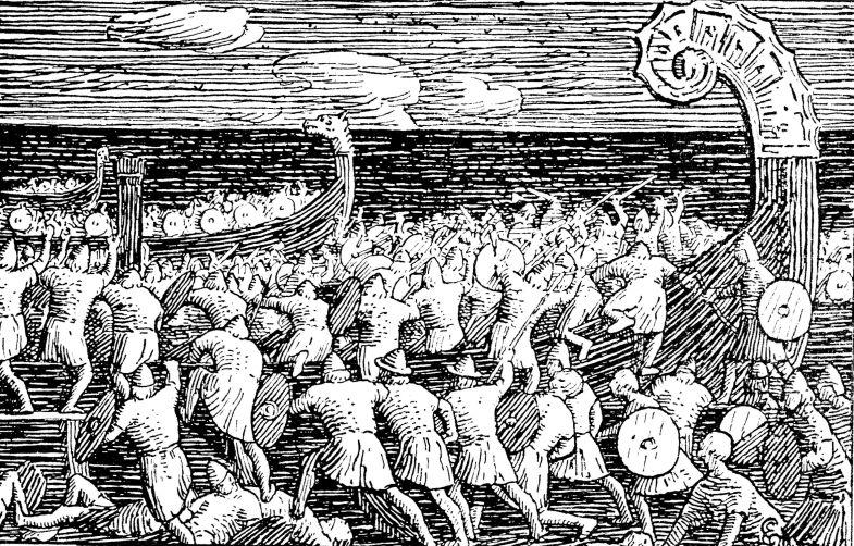 Olav_Tryggvasons_saga_-_Eriks_menn_entrer_Ormen_lange_-_Halfdan_Egedius