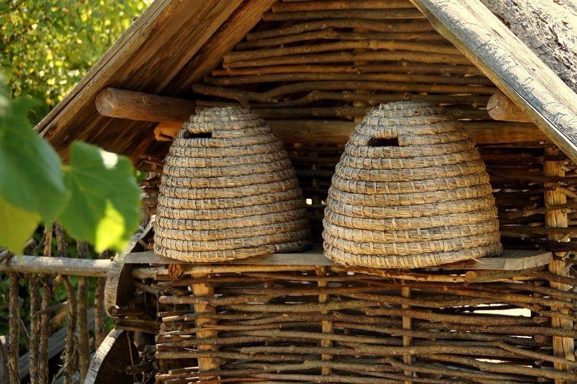 dwa piękne ule z pszczołami w domku z wikliny, źródło: pixabay.com
